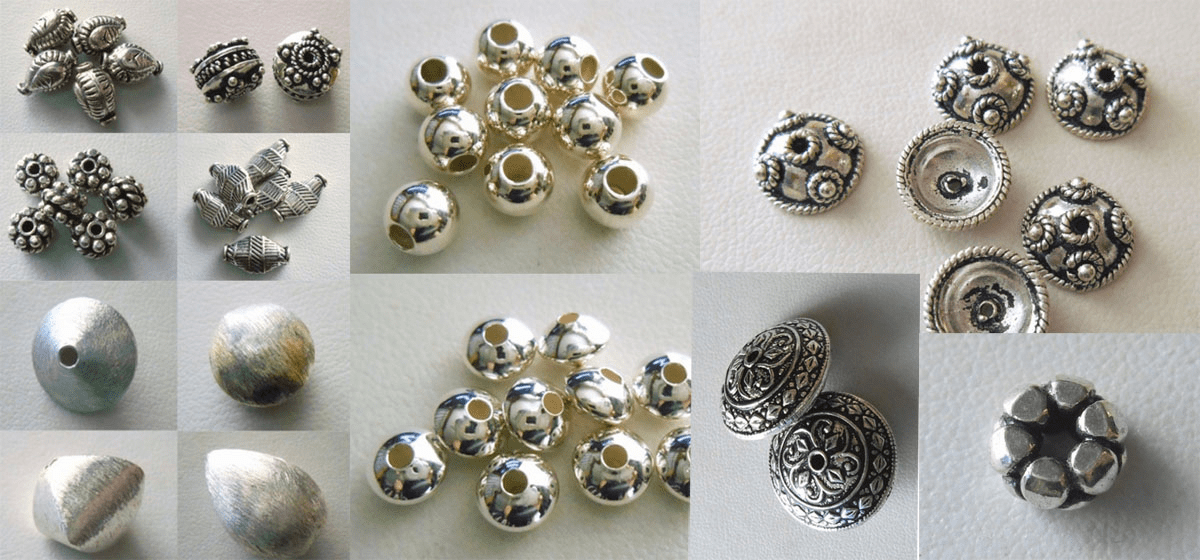 Beads and Bead Caps - Sterling Silver -