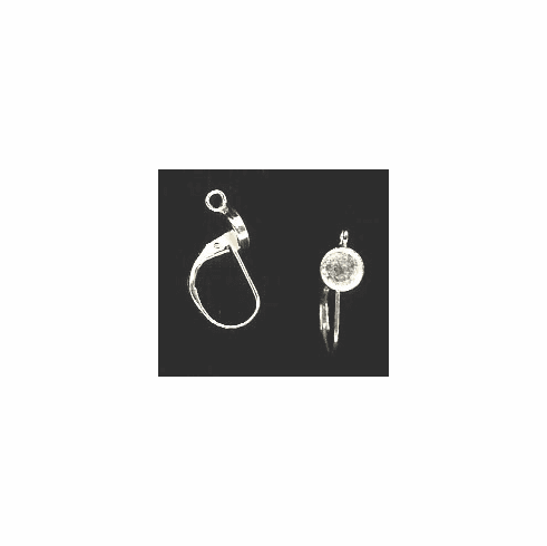 Bezel Cup Lever Back - 6mm Cab Setting - 1 Pair - Sterling Silver<br>LB6R