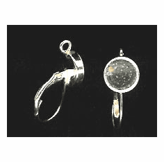 Bezel Cup Lever Back - 8mm Cab Setting - 1 Pair - Sterling Silver<br>LB8R