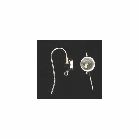 Bezel Cup Wire - 8mm Cab Setting - 1 Pair - Sterling Silver<br>ST8R