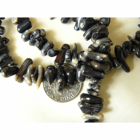 """Black Coral chip beads 16"""" Strands Average size 4x8mm"""