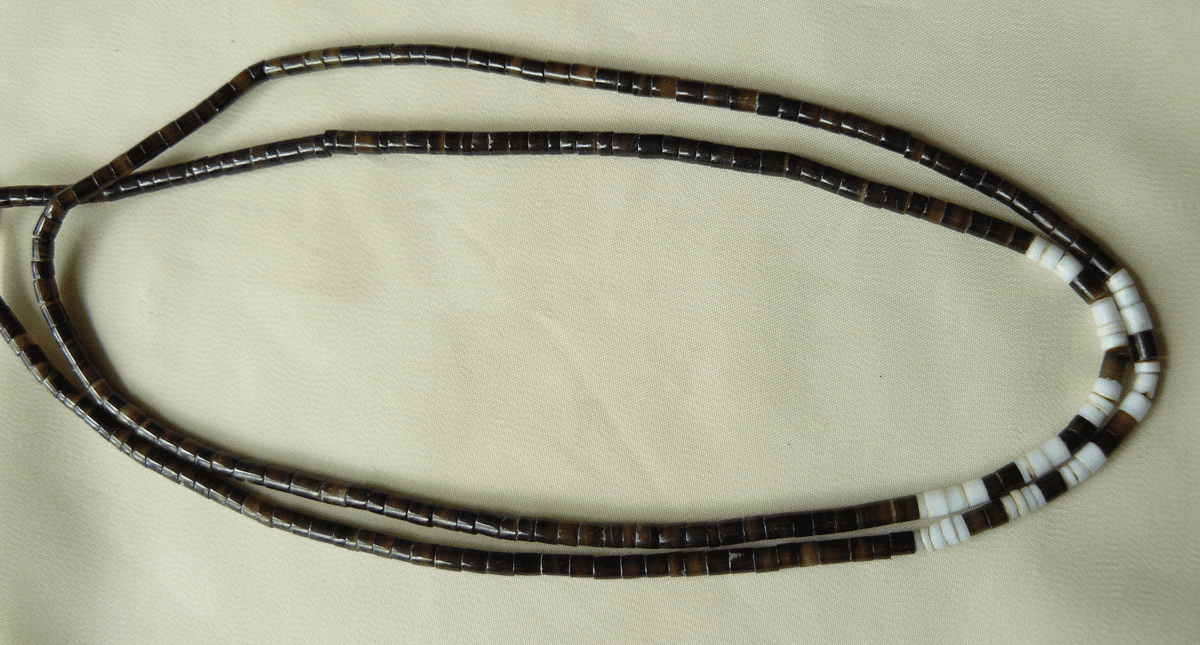 "Black Pan White Shell Heishi Beads 3.5mm 16"" strands"