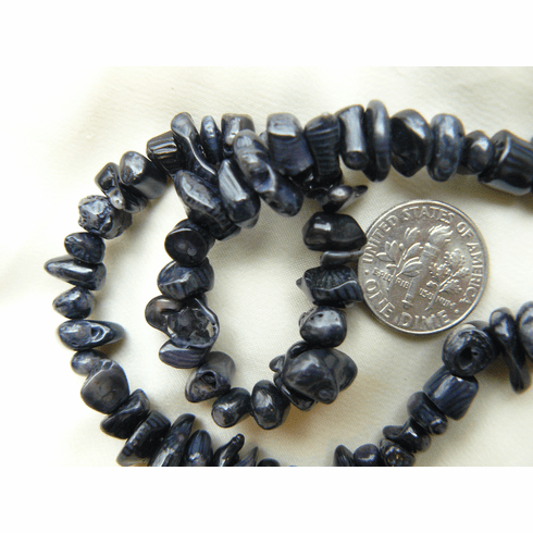 "BlackCoral Chip Beads 16"" Strands"