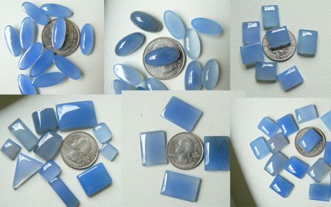 Blue Chalcedony Cabochons Translucent light blue