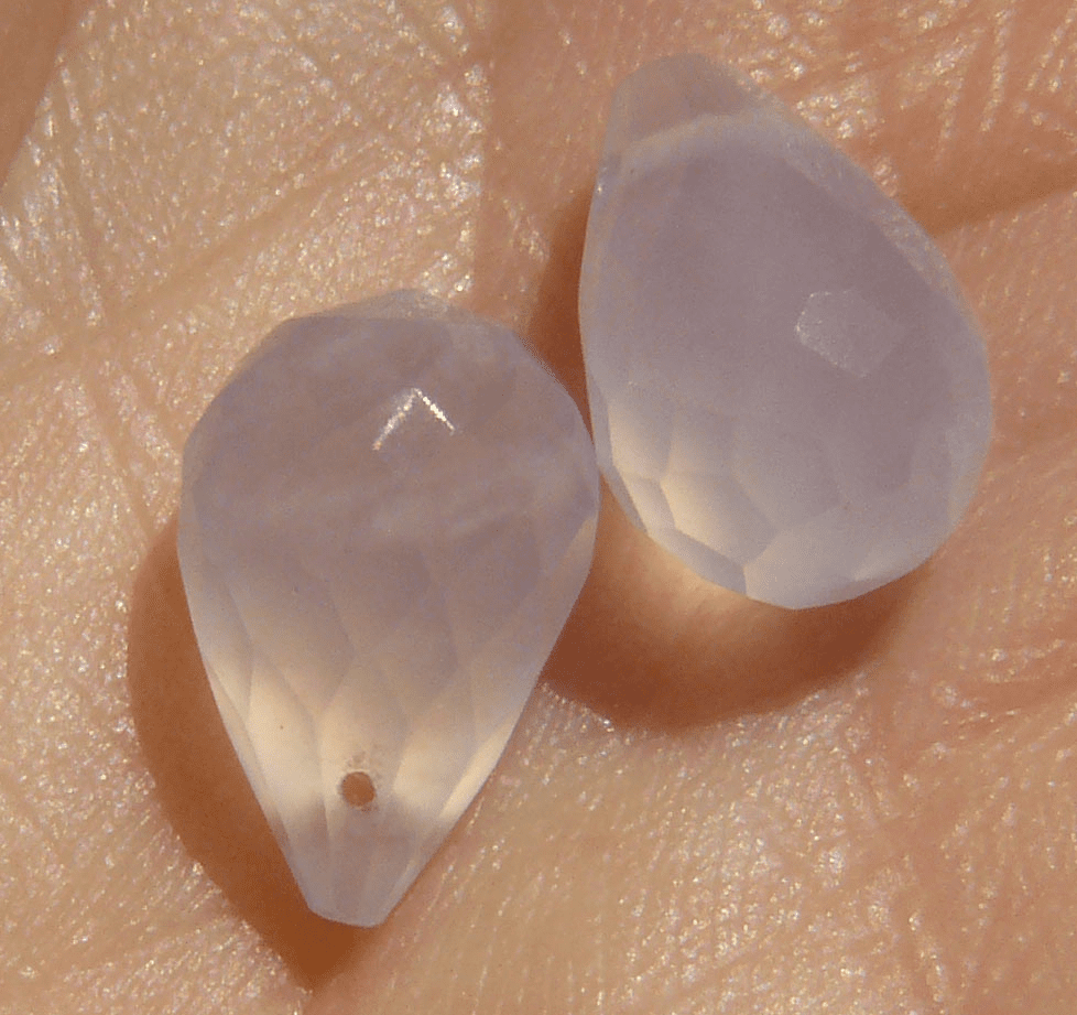 Blue Chalcedony Faceted Briolette bead Drops (set of 2)5x10MM