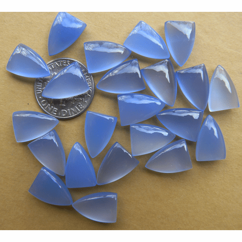 "Blue Chalcedony ""Tongues"" Medalion Cabochons 9x13mm"