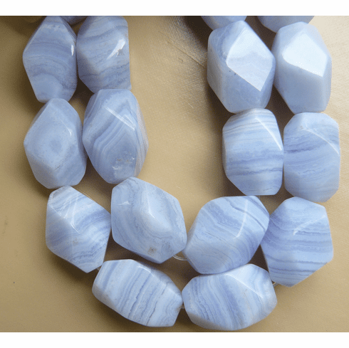 """Blue Lace Agate Beads - Faceted Nuggets 16"""" strands"""