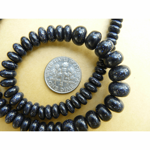 """Blue Stone Graduated from 4 to 10mm Rondelle Beads 16"""" Strand"""