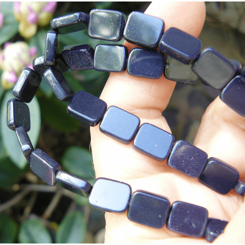 """Blue Stone Rectangle Beads 8x10mm 16"""" Strands"""