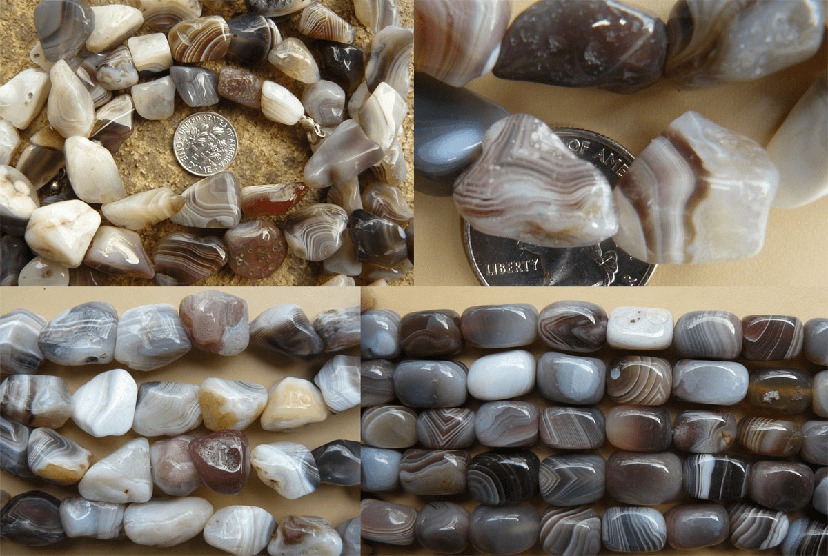 """Botswana Agate Beads - Square, Chunky and more 16"""" Strands"""