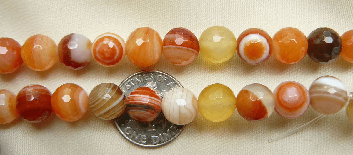Botswana Agate Peach color faceted Beads 9mm