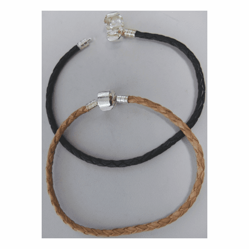"""Braided Leather Large-Hole Bead Bracelets - 8"""" - .999 Silver Over Copper<br>20CM"""