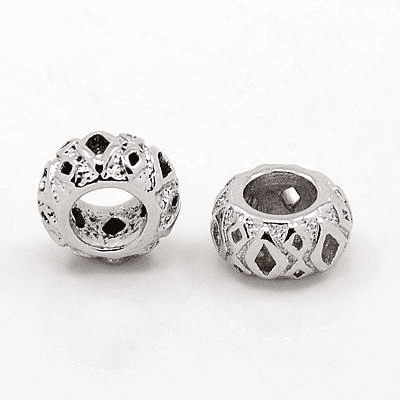 Brass European Beads, Large Hole Beads, Rondelle, Antique Silver, 10x5mm, Hole: 5mm