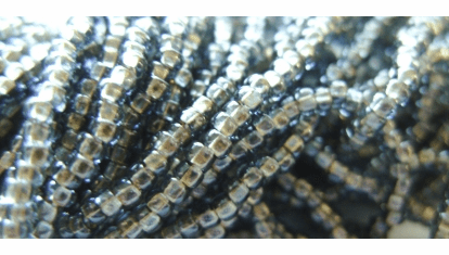 Brass Lined Gray Seed Bead 10/0
