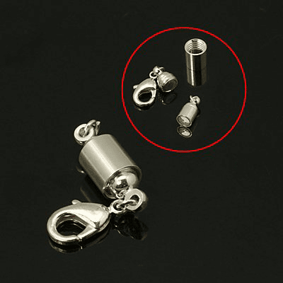 Brass Magnetic Clasps, Silver, 8x42mm, Hole: 2.5mm, Silver, 8x42mm