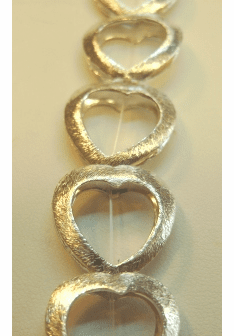 Brushed Heart Open Bead Frame 18x17mm .999 Silver Over Copper SCBKM2