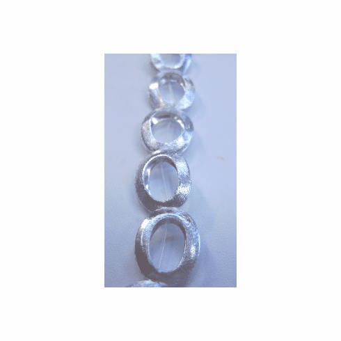 Bright Brushed Silver Oval Bead Frame - 18x13mm - 11 Beads - .999 Silver Over Copper <br>SCBKM1