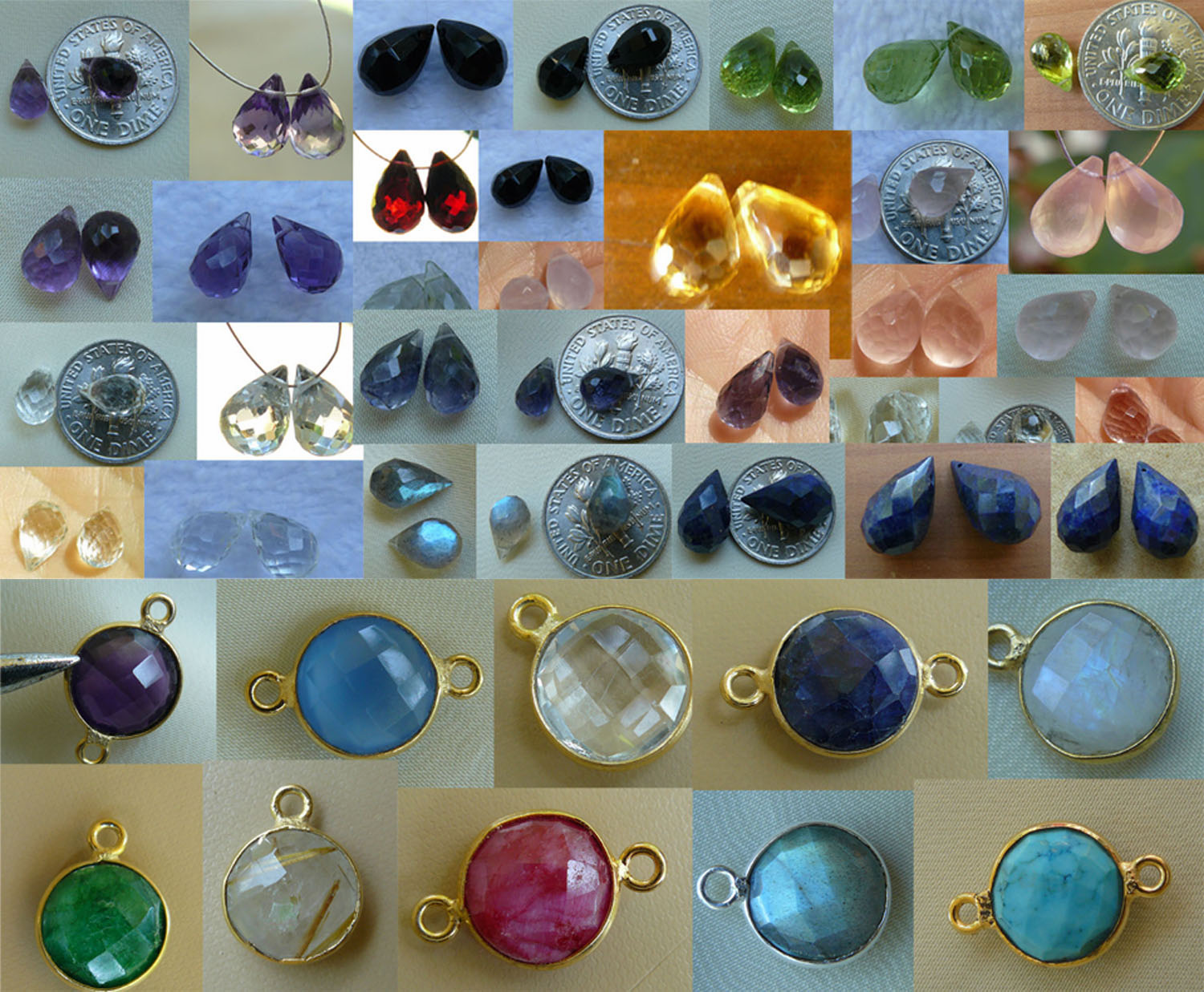 Briolette faceted Gemstone beads and Gemstone connectors