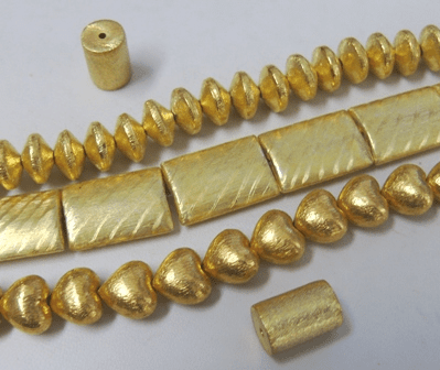 Brushed Beads - 24kt Gold Over Copper -
