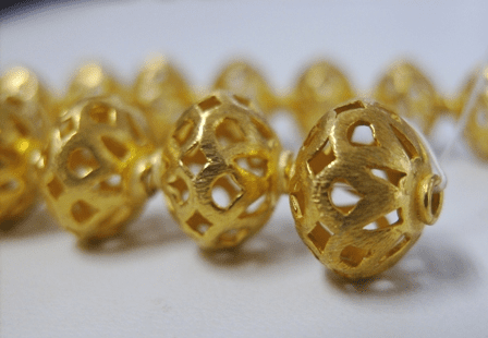 Brushed Cut-Out Rondelle - 12mm - 17 Beads - 24Kt. Gold Over Copper<br>GCBK407