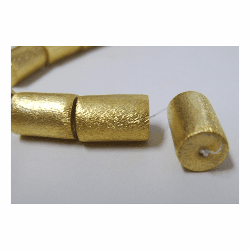 Brushed Cylinders 6 Beads 15mm 24Kt. Gold Over Copper GPB445