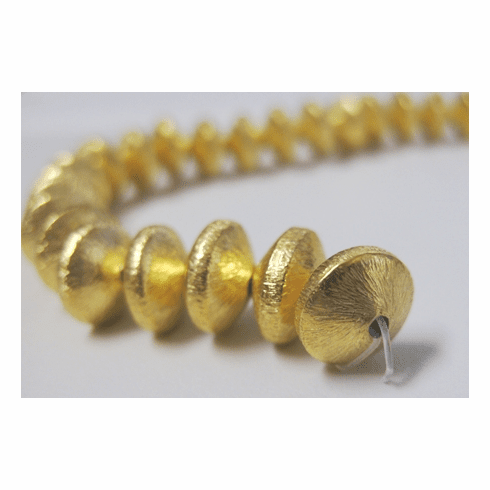 Brushed Disk - 10mm - 29 Beads - 24Kt, Gold Over Copper<br>GCBK5033