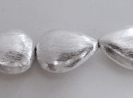 Brushed Flat Teardrop Bead - 16mm - 13 Beads - .999 Silver Over Copper<br>SCBK121
