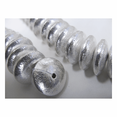 Brushed Silver Disk - 16mm - 36 Beads - .999 Silver Over Copper<br>SCBK122