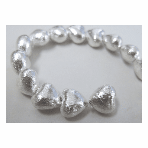 Brushed Silver Heart Bead 12mm .999 Silver Over Copper SCBKSP120