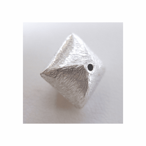 Brushed Square Pillow Bead - 12mm - 19 Beads - .999 Silver Over Copper<br>SCBK80