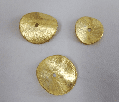 Brushed Wafer Spacers - 24kt Gold Over Copper -