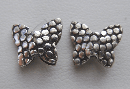 Butterfly Bead Style 1 - 10x12mm - 30 Beads - .999 Silver Over Copper<br>SCBK150