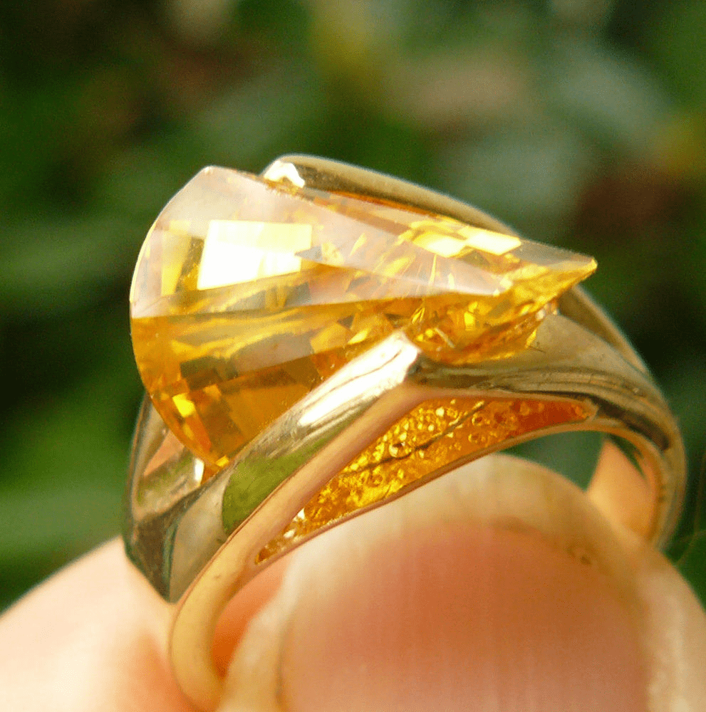 Canary Yellow CZ Lazer Cut Ring Choice of sizes 5 to 10