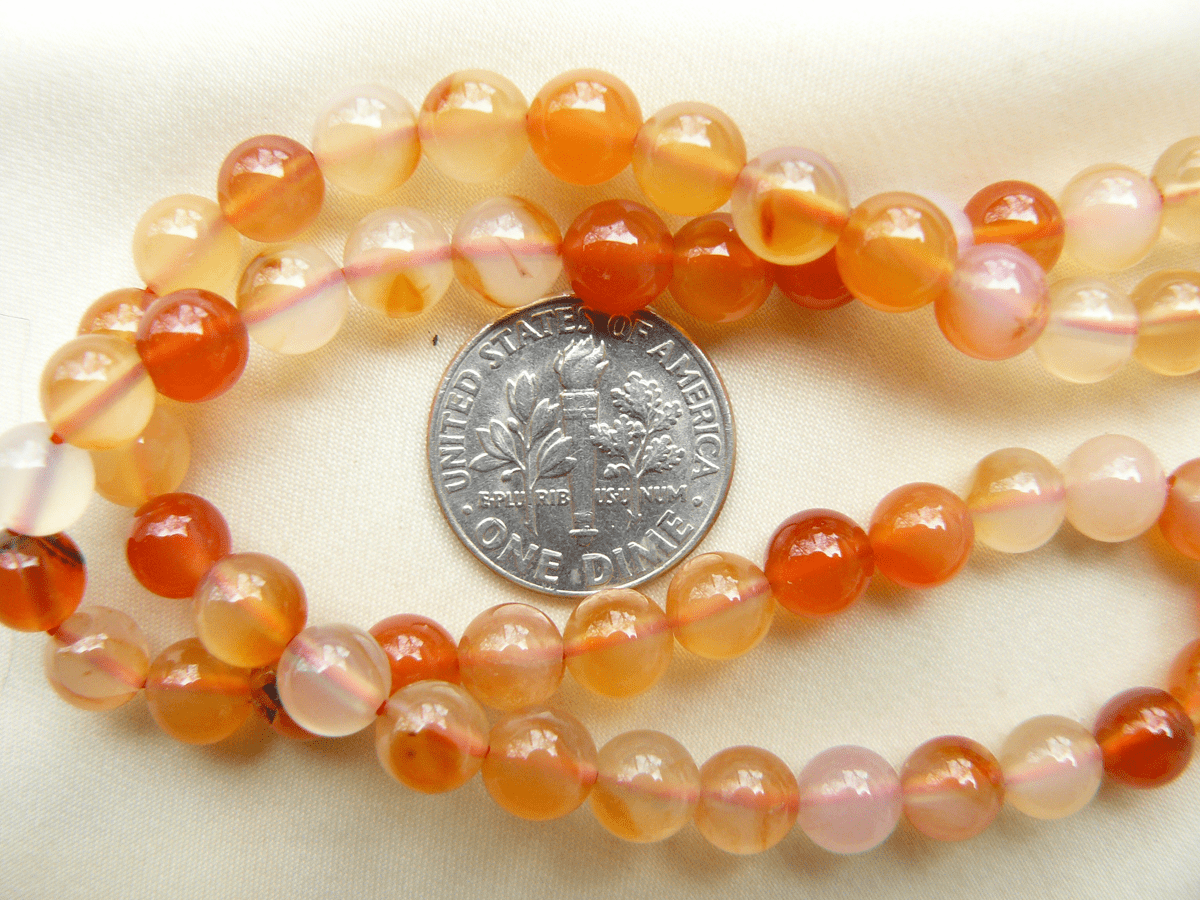 """Carnelian Beads 6mm Natural color 15"""" Strand"""