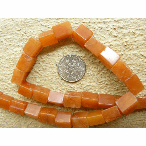 """Carnelian Beads 7x10mm cubes squared Cubes 16"""" strands"""