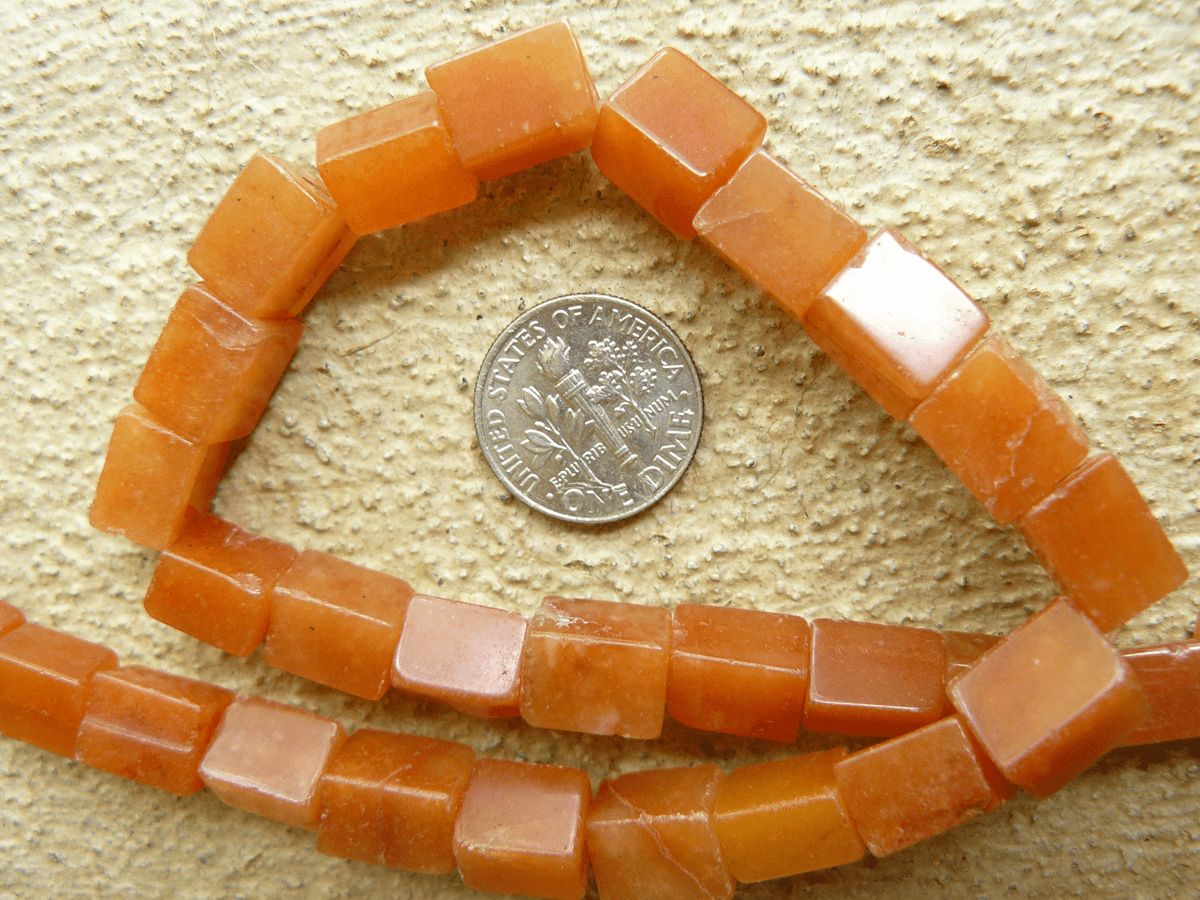 "Carnelian Beads 7x10mm cubes squared Cubes 16"" strands"