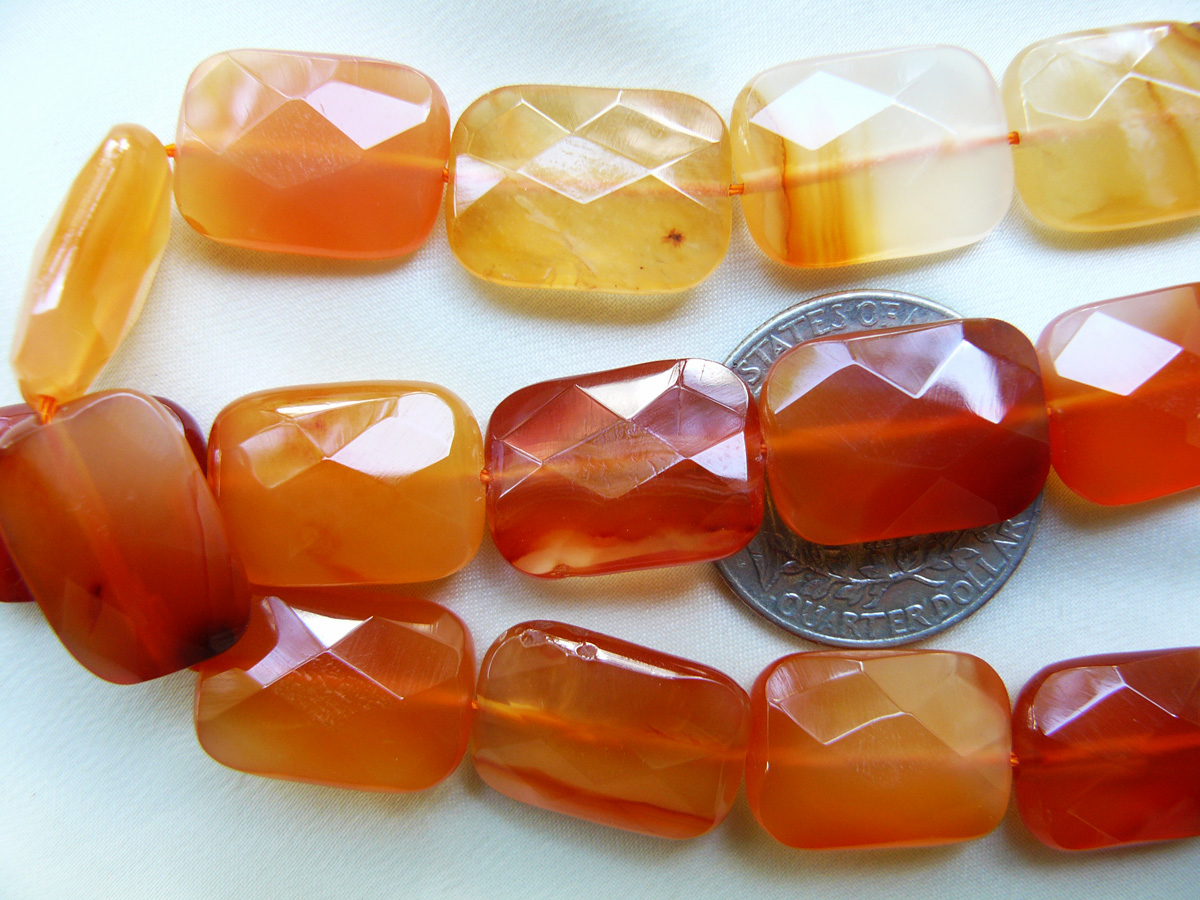 """Carnelian Beads Faceted Rectangles 18x13x7mm 16"""" strands"""