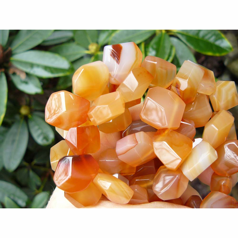 Carnelian Beads Faceted Top Drilled