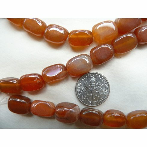 """Carnelian Beads  Rounded Cubes 9x12mm 16"""" strands"""