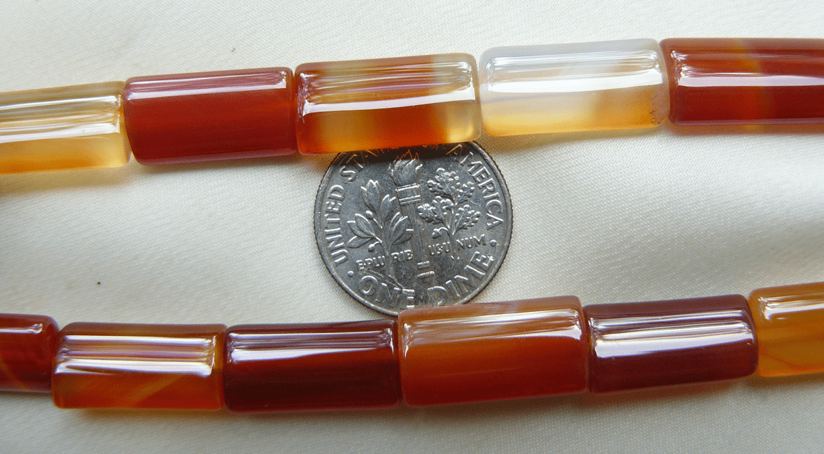 """Carnelian Beads Rounded Rectangles 8x17mm 16"""" strands"""