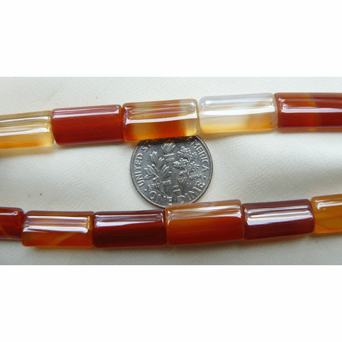 "Carnelian Beads Rounded Rectangles 8x17mm 16"" strands"