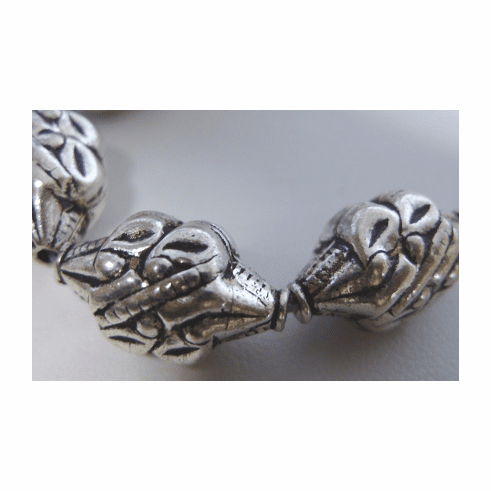 Carved Silver Bead 13x21mm .999 Silver Over Copper SC-J13X21