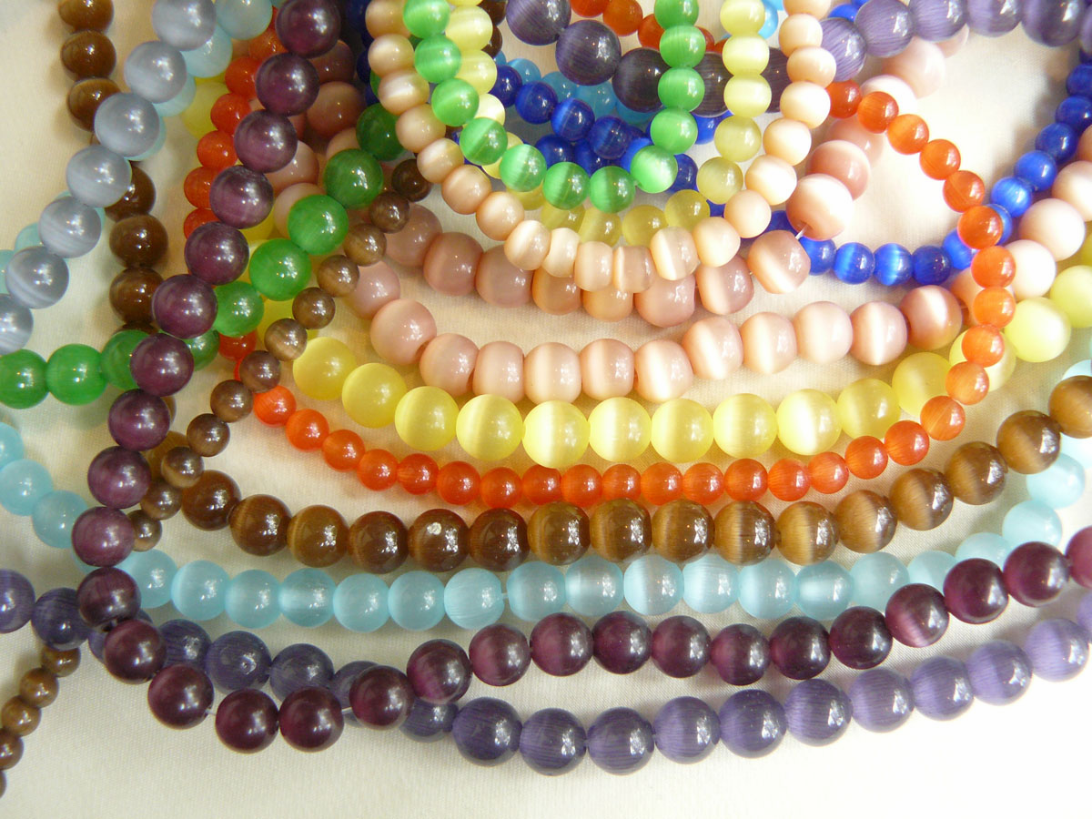 """Cats eye fiber Optic Beads 16"""" strands lots of color choices"""
