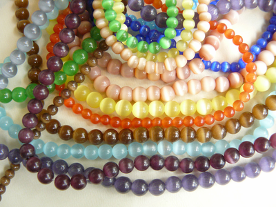 "Cats eye fiber Optic Beads 16"" strands lots of color choices"