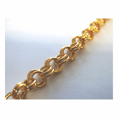 Chain by the Foot - 10mm Dbl Link Chain - 24 KT. Gold Over Copper<br>GCBKCH-035