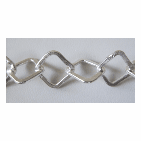 Chain by the Foot - 10mm Flat Square Links - .999 Silver Over Copper<br>SCBKCH-505