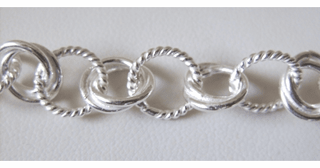 Chain by the Foot - 10mm Twisted Links - .999 Silver Over Copper<br>SCBKCH-011