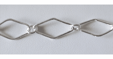 Chain by the Foot - 10x20mm Diamonds w/ 5mm Links - .999 Silver Over Copper<br>SCBKCH-018