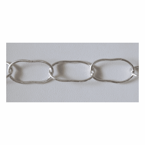 """Chain by the Foot - 12x20 """"Bean-Shaped"""" Links - .999 Silver Over Copper<br>SCBKCH-016"""