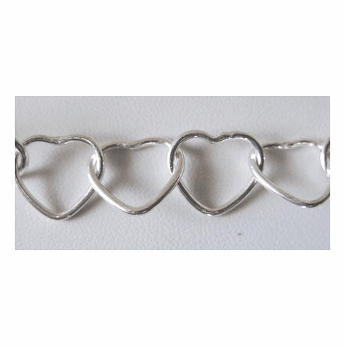 Chain by the Foot - 13x15mm Heart-Shaped Links - .999 Silver Over Copper<br>SCBKCH-004